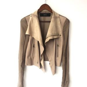 VEDA Brown Leather & Silk Oversized Collar Jacket